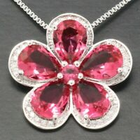 "Large Red Ruby Pendant Necklace 14K White Gold Filled Women Jewelry 18"" Chain"