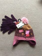 BNWT Girls Age 6-9 Years Multi Coloured Peppa Pig Bobble Hat & Matching Gloves