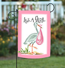 NEW Toland - It's a Girl - Cute Stork Baby Infant Pink Garden Flag