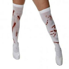 Halloween Bloody Nurse White Hold Up Stockings Spooky Blood Stains Fancy Dress