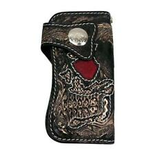RIDER DEMON SKULL CARVED GENUINE STINGRAY & SNAKE LEATHER WALLET NEW BIKER ROCK