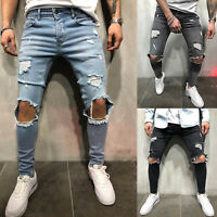 Men Long Slim Fit Jeans Distressed Ripped Frayed Denim Pants Stylish Trousers