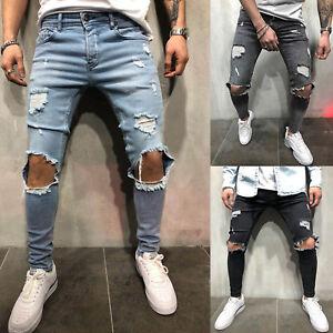 Mens Boys Ripped Knee Destroyed Denim Pants Skinny Frayed Jeans Biker Trousers