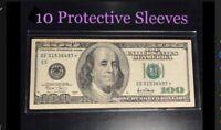 10 SEMI-RIGID Vinyl Money Protector Sleeves US Dollar Bill CURRENCY HOLDERS BCW