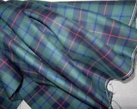 SOLD BY YARD ~ Armstrong Tartan Plaid Fabric Poly / Viscose ~ Blue Green