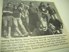 Skinny Puppy meet with record execs. Original 1993 music biz promo pic with text