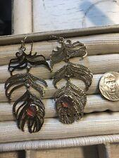 Kendra Scott Rare Gold Farrah Feather Earrings. Stone Linear Long Bohemian