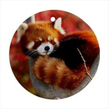 Red Panda Round Porcelain Ornament - Holiday Seasons