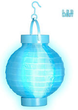LED Stoff Lampion hellblau NEU - Partyartikel Dekoration Karneval Fasching