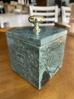 Vintage -  Green And Natural Marble Stone - Trinket Box W/ Lid
