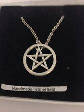 "Open Pentacle / Pentagram PP-G62 Emblem Silver Platinum Plated Necklace 18"""