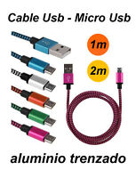 Cable cargador Micro Usb aluminio trenzado para bq Aquaris X5 Plus