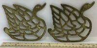 """Solid Brass Trivet Set Of Two Swans Waterfowl 5.5"""" X 5.25"""""""