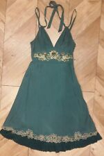 Karen Millen Vintage Green Skater 100% Silk Dress Beaded Size 10 Limited Edition