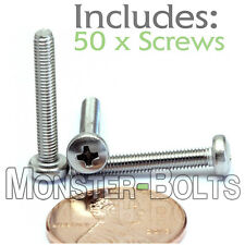 M3 x 20mm - Qty 50 - Stainless Steel Phillips Pan Head Machine Screws DIN 7985 A