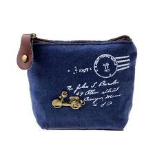 Girl Blue Retro Coin Bag Purse Wallet Card Case Handbag Gift Motorcycle B2