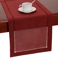 Hemstitched Cranberry Dining Table Runners Dresser Scarf, Solid Color, Rectangle