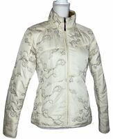 Cloudveil Womens Small Primaloft Ski Snow Jacket Coat Tan Cream Embroidered