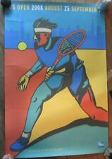 "2008 Original  US Open Tennis Player Poster Milton Glaser 36x24"" Blue Red Yellow"