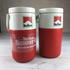 2ea. Marlboro Water Jug Vintage Tobacco Collector 1991 Cooler Thermos Coleman
