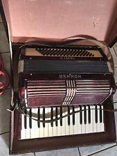 Rojo Hohner acordeón Verdi II, 80 contrabajos, incluyendo maleta, aprox. 1940