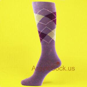 XL Lavender /White /Purple Men's Groomsmen Wedding Argyle Dress Socks --MA018