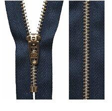 Dark Navy YKK Brass Jeans Zip Closed End Heavy Duty (10cm,13cm,15cm,18cm,20cm)