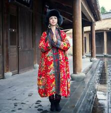 Retro Women Chinese Long Floral Quilted Coats Folk Style Jackets Overcoats Parka