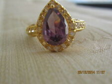 Yellow Gold Filled  Ring with Purple Swar Crystal - Size 8
