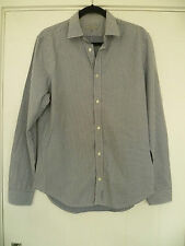 COS SIZE 40 MENS COTTON BLUE SMALL CHECK LONG SLEEVE SHIRT GOOD CONDITION