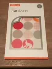 New STOKKE Sleepi Flat Sheet Silhouette White And Pink 100x100cm RRP $50