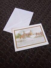 Brick Mill Studio Christmas Card Snow Cabin Rustic Unused