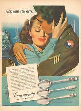 1945 vintage WW2  AD COMMUNITY Silverware  Art Jon Whitcomb Back at Last 103016