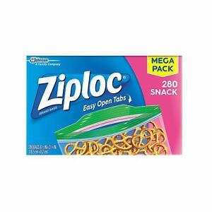 Ziploc Snack Bags, Packing Cookies, Fruit, Chips & Vegetables, 280 ct