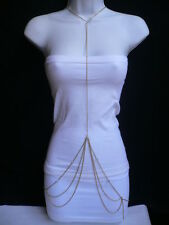NEW WOMEN GOLD NECK TO HIPS FASHION METAL BODY CHAIN JEWELRY LONG TREND NECKLACE