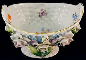 German Porcelain Basket with Applied Raised Flower Decoration Hand Painted
