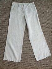 """Monsoon Linen Size 10 Trousers In Cream With White Floral Print 29"""" Leg"""