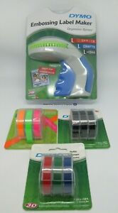 Dymo Xpress Embossing Label Maker express with + 3 NEON & 3 Black & 3 Colour