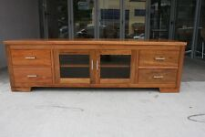NEW Harbour SOLID Blackwood Lowline TV Unit 4 Drawers 2 glass doors