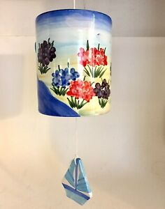 Ceramic Wind Chime Ocean Sailboat Floral Theme Hand Painted