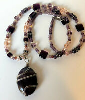 Vintage Silver 925  Crystal Glass Beaded Necklace with Amethyst Stone Pendant