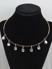 Robert Lee Morris Gold Black Moonstone Drop Leather Wrap Wire Collar Necklace