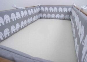 ALL ROUND BUMPER padded filled straight for cot / cot bed GREY ELEPHANTS 4 sides