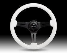 """NRG 2"""" Deep Dish WHITE Wood Grain Steering Wheel with BLACK 3-Spoke Center 350mm"""