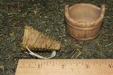 Basket Bucket Nativity Village WineTavern Diorama Western Decor Set/2 Resin
