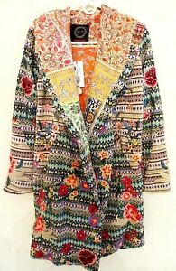 NWT $565 JOHNNY WAS BIYA  BOHO NIA PATCHWORK DUSTER EMBROIDERED HOODIE-X-SMALL
