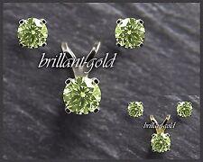 Ohrstecker Anhänger Schmuckset 585 Gold, Peridot grün, Weißgold/Gelbgold, Damen
