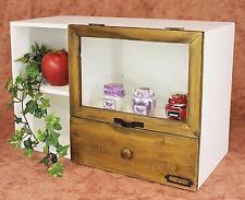 Minikommode 12016 Kommode mit Vitrine und Schublade Regal 48 cm Schrank Shabby