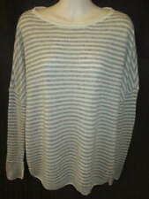 Premise 100% Cashmere Gray Cream Striped Looser Fit Sweater M
