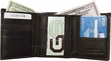 Men's Trifold Leather Wallet, 8 credit card ID unbranded billfold wallet Brd New